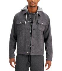 sun + stone men's richter hooded trucker jacket, created for macy's