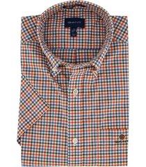 korte mouwen overhemd gant regular fit geruit