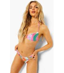 strapless bikini top met bandjes, o-ring detail en opdruk, pink