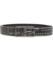 diesel worn-effect silver studded belt - black