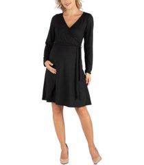 24seven comfort apparel women's knee length long sleeve maternity wrap dress