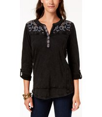 style & co embroidered cotton roll-tab-sleeve top, created for macy's