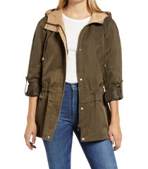 women's sam edelman cinch waist jacket, size medium - green