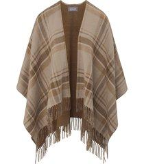 cape van 100% wol met franje van basler bruin