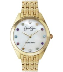 jessica simpson women's genuine gemstone gold tone bracelet watch 37mm