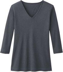 enna biokatoenen shirt met v-hals en 3/4 mouwen, leisteen 40