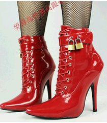 pb190 big size pointy booties w lockers, patent leather, us size 12-15,red