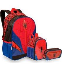 kit spiderman 19y infantil sestini - mochila + lancheira + estojo