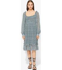 proenza schouler crepe chiffon square neck dress bluestone/blk woven dot/black 0