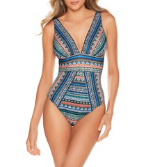 women's miraclesuit portofino odyssey one-piece swimsuit, size 14 - blue