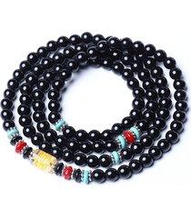 bracciale multistrato vintage unisex in pietra nera naturale con perline gioielli etnici per donna
