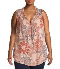 bobeau women's plus sleeveless ruffle tieneck top - rust dot - size 1x (14-16)