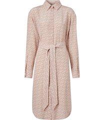 burberry monogram print crepe de chine shirt dress - pink