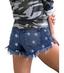 pantalones cortos de mezclilla con borlas y estampado de estrellas en azul al azar