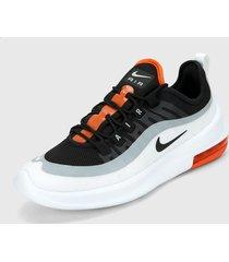 tenis lifestyle negro-gris-blanco-naranja nike air max axis,
