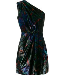dsquared2 tie-dye one-shoulder dress - black