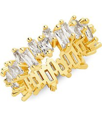 14k gold vermeil & crystal staggered band ring
