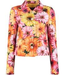 dolce & gabbana gerbera daisy print single-breasted blazer