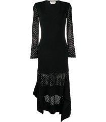 alexander mcqueen high-low hem v-neck dress - black