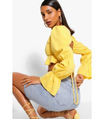 puff sleeve backless crop top, gold