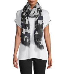 leopard-print & striped scarf
