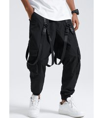 hombre llanura cinta hebilla cordón casual carga pantalones