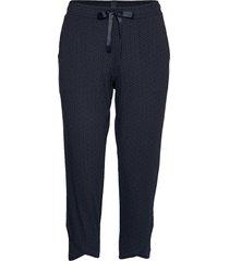 pants 3/4 pyjamasbyxor mjukisbyxor blå schiesser