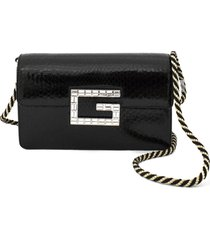 gucci black python shoulder bag with square g.