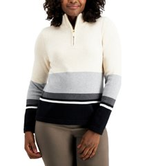 karen scott striped zip-up sweater, created for macy's