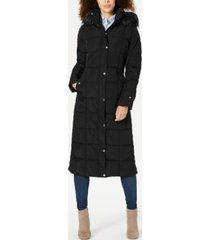 tommy hilfiger faux-fur-trim hooded maxi puffer coat