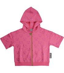 moschino bear dark pink zip sweatshirt