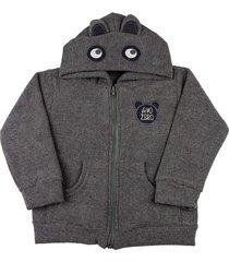 casaco infantil ano zero malha soft glac㪠touca ursinho - preto - grafite - menino - dafiti