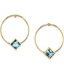 2028 14k gold dipped diamond shape crystal hoop stainless steel post small earrings