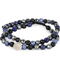 dell arte shamballa stainless steel & multi-stone bead bracelet