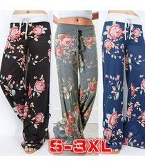 blue wide leg pants women's mid waisted fashion printed casual loose floral  s