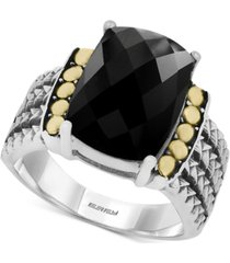 eclipse by effy onyx statement ring in sterling silver & 18k gold