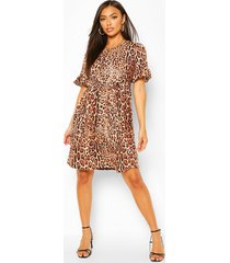 animal print smock dress, brown