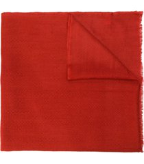 altea chevron knit frayed edge scarf - red
