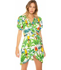 mc2 saint barth flared dress parrots print on a white background with green leaves