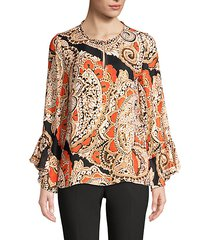 kayla silk-blend paisely blouse