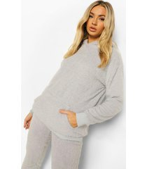 fleece teddy lounge hoodie, grey