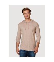 camiseta hering slim em malha de algodáo com capuz ocre