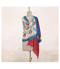 silk shawl, 'apple blooms' (india)
