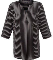 blouse met 3/4-mouwen en lengtestrepen van via appia due zwart