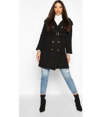 double breasted trench wool look coat, black