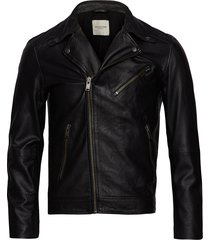 slh b-02 biker leather jkt w leren jack leren jas zwart selected homme