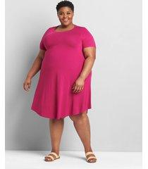 lane bryant women's short-sleeve swing dress 34/36 festival fuchsia
