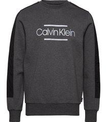 mix media logo sweatshirt sweat-shirt trui grijs calvin klein