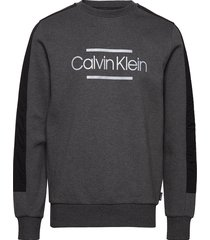 mix media logo sweatshirt sweat-shirt trui grijs calvin klein