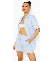 katoenen poplin blouse met korte mouwen en shorts, powder blue